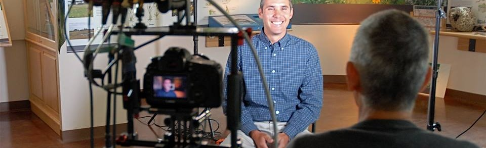 Chris Lajewski, Director of Montezuma Audobon Center, being interviewed for Hometown Habitat. Photo courtesy of The Meadow Project.