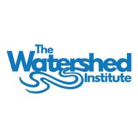 Logo for the Watershed Institute, blue print on a white background