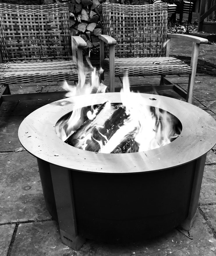 Black and white photo of a cozy fire pit