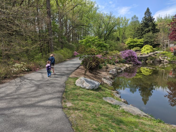 Two children walking on a path at a nature center